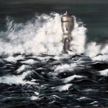 faro nella notte mare in tempesta un dipinto di Violetta Viola arte ViolaV
