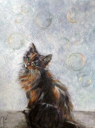 Ritratto di gatto (bolle di sapone) di violetta viola Arte ViolaV