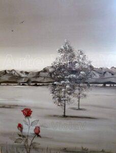 paesaggio rosa rossa di violetta viola arte violav