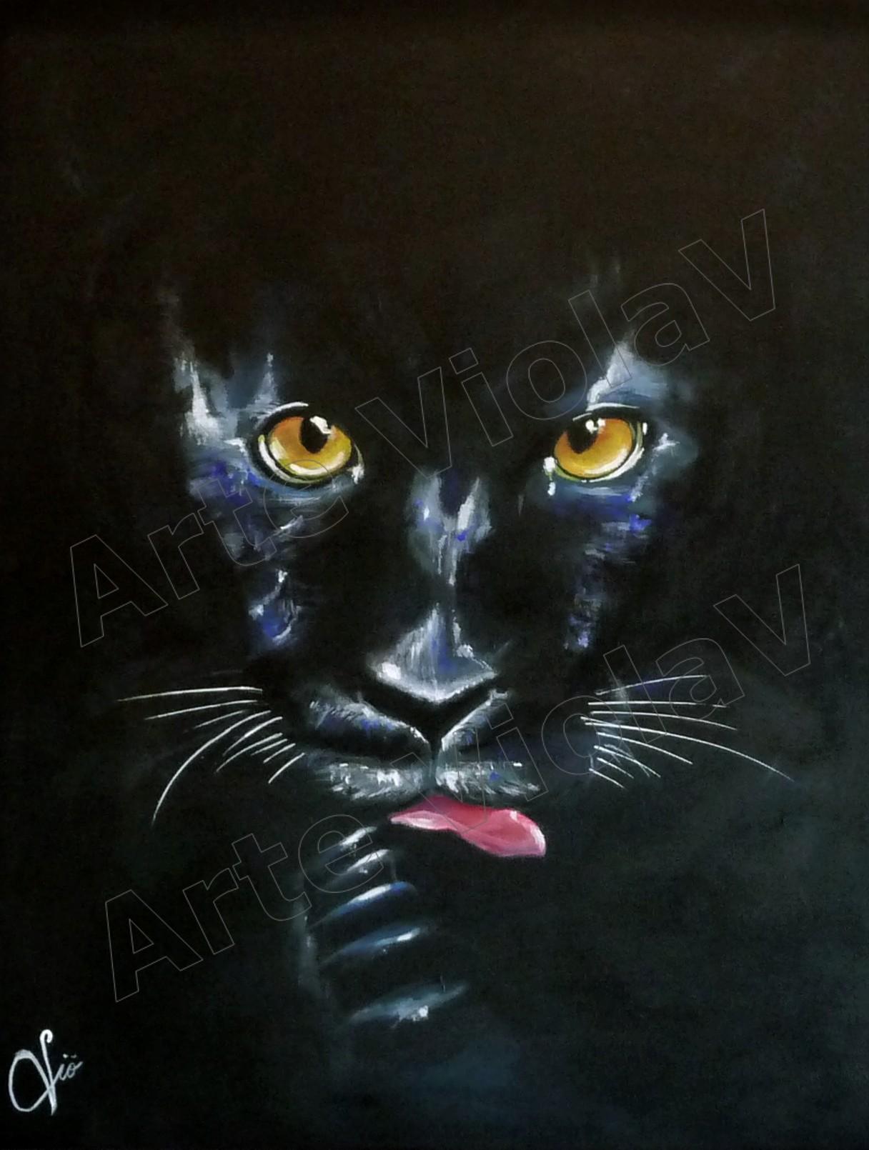 Ritratto pantera nera di violetta viola arte violav