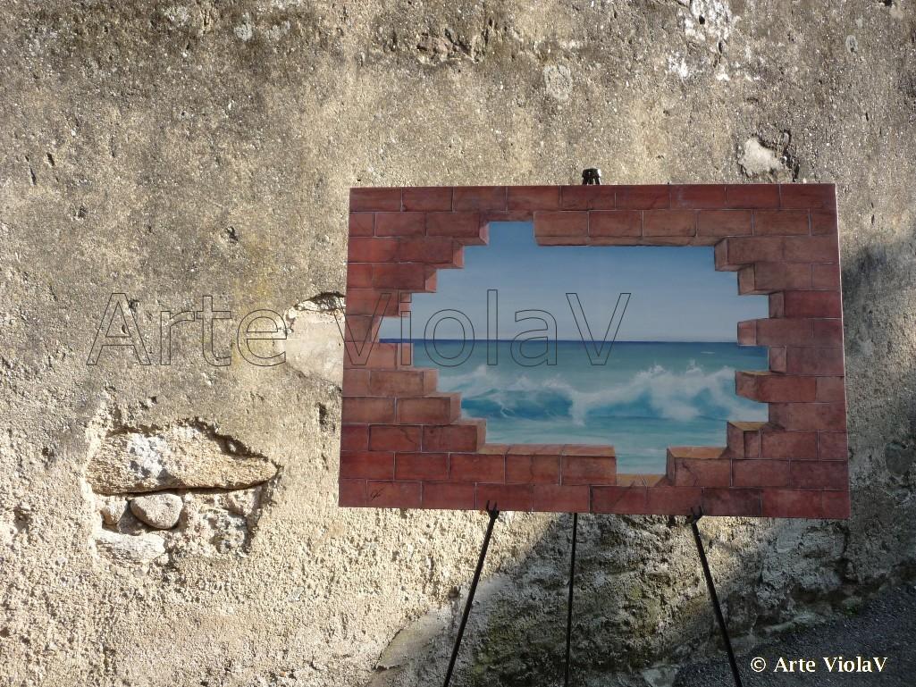 Vista mare un buco nel muro