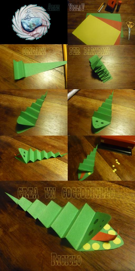 origami per bambini un coccodrillo arte violav