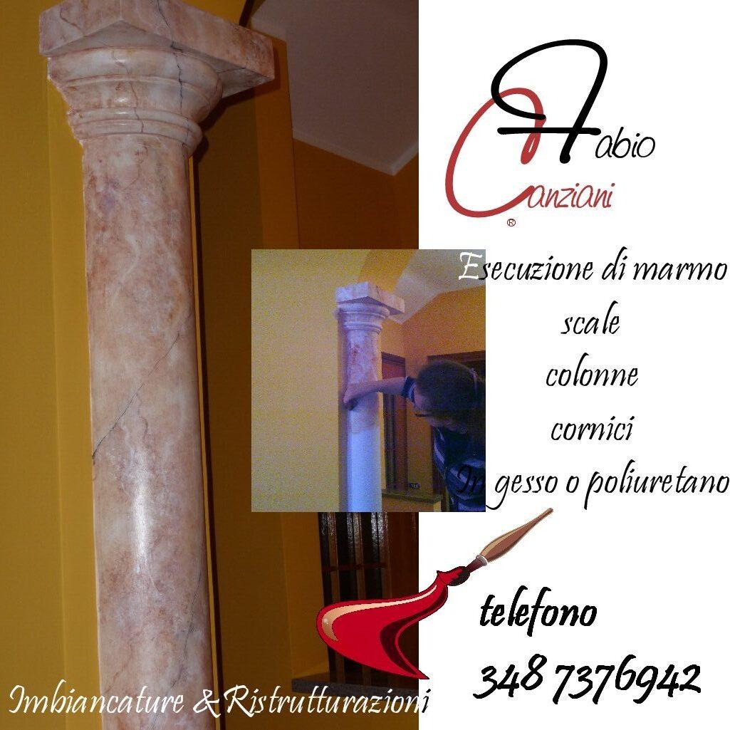 colonne in finto marmo