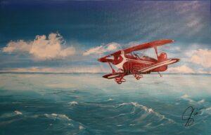 idrovolante Arte violav di violetta viola quadro mare e aereo