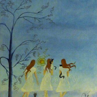 Le Violette (streghe) dipinto di Violetta Viola Arte ViolaV