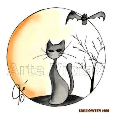 Halloween gatto nero illustrazioni di Violetta Viola Arte ViolaV