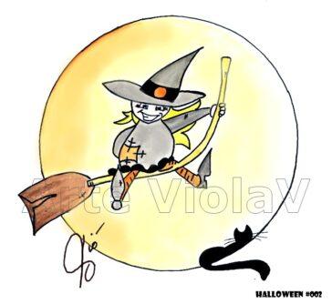 Halloween streghetta illustrazioni di Violetta Viola Arte ViolaV