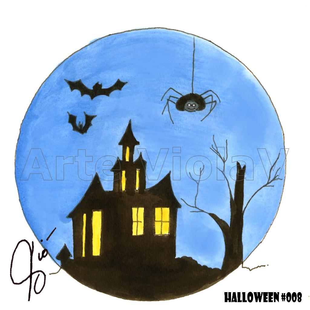Halloween casa stregata illustrazioni di Violetta Viola Arte ViolaV