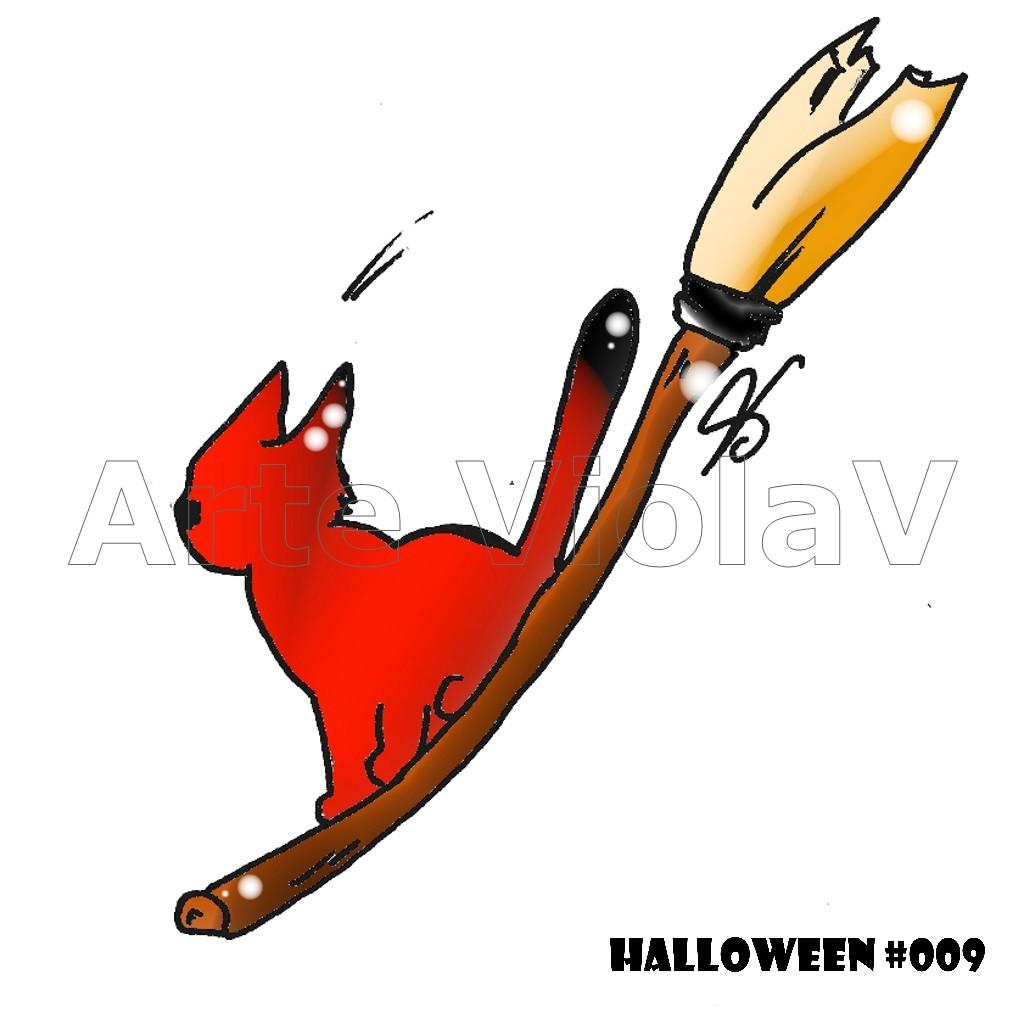 Halloween gatto stregato illustrazioni di Violetta Viola Arte ViolaV