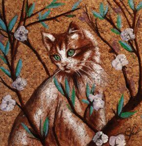 gatto il mio giardino arte violav di Violetta Viola
