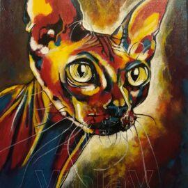 ritratto Don Sphynx arte violav di violetta viola
